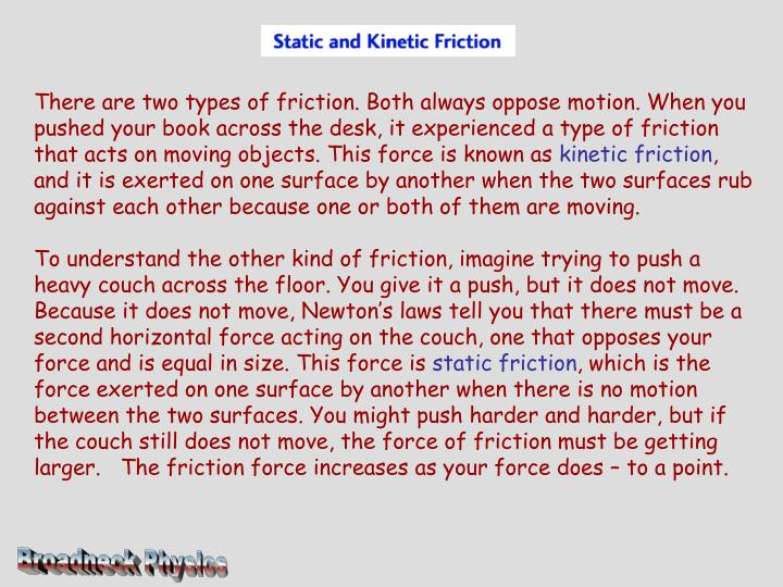 There are two types of friction. Both always oppose motion. When you pushed your book across the des...