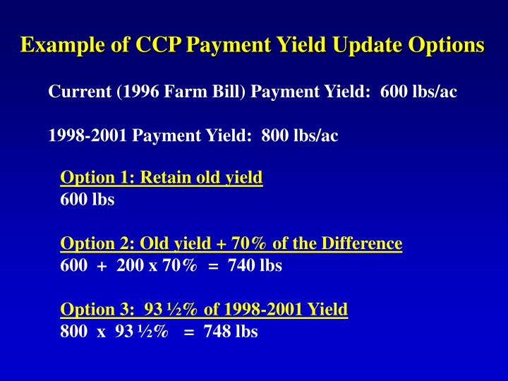 Example of CCP Payment Yield Update Options
