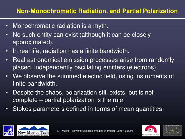 Non-Monochromatic Radiation, and Partial Polarization