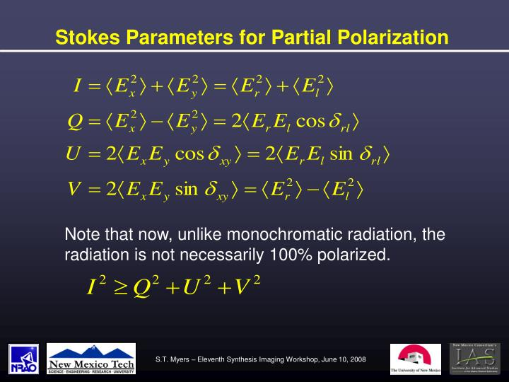 Stokes Parameters for Partial Polarization