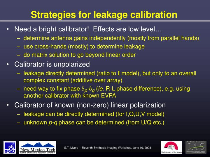 Strategies for leakage calibration