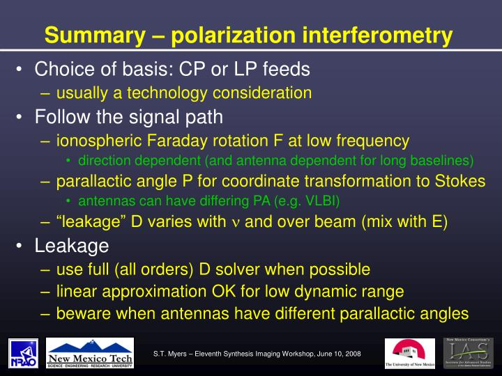 Summary – polarization interferometry