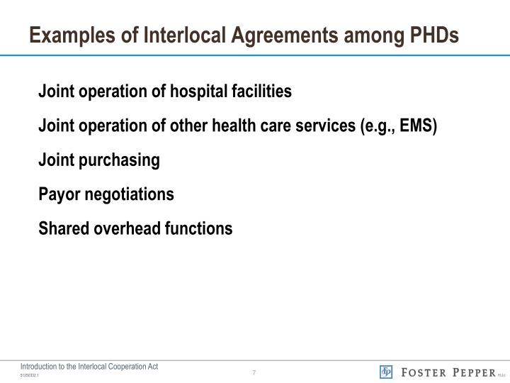 Examples of Interlocal Agreements among PHDs