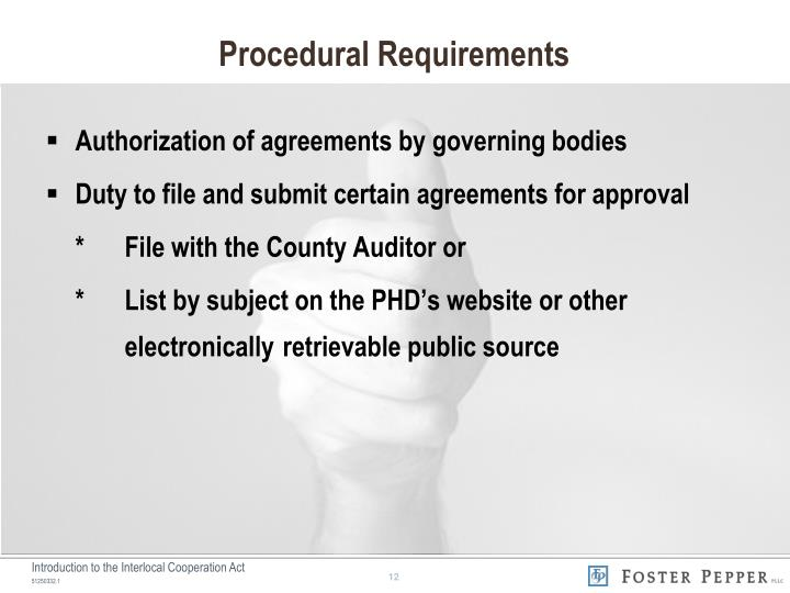 Procedural Requirements