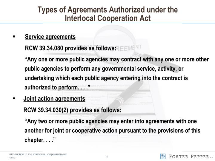 Types of Agreements Authorized under the