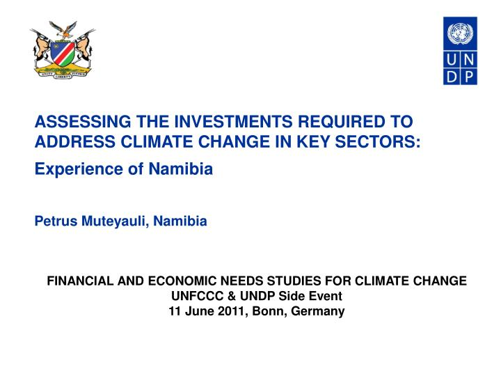 ASSESSING THE INVESTMENTS REQUIRED TO ADDRESS CLIMATE CHANGE IN KEY SECTORS: