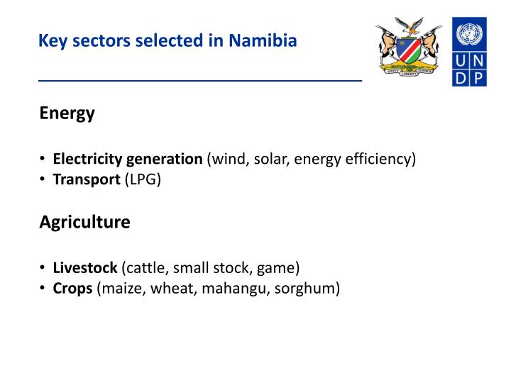 Key sectors selected in Namibia