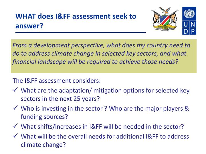 WHAT does I&FF assessment seek to answer?