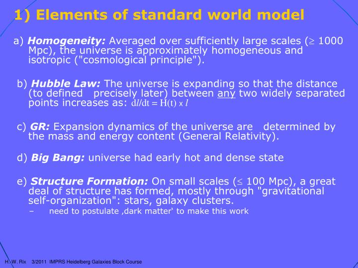 Elements of standard world model