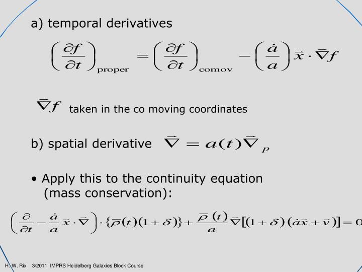 a) temporal derivatives