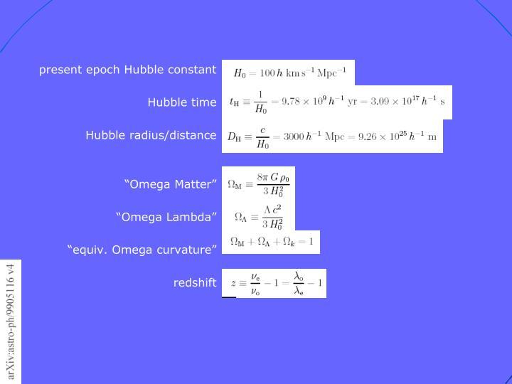present epoch Hubble constant