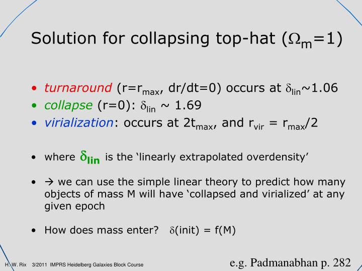 Solution for collapsing top-hat (