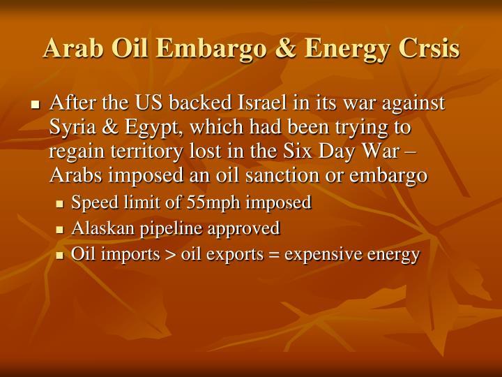 Arab Oil Embargo & Energy Crsis