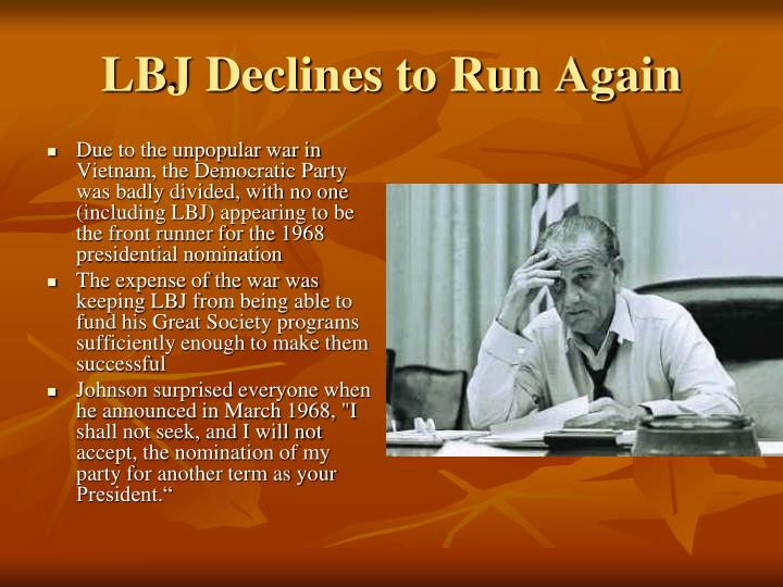LBJ Declines to Run Again