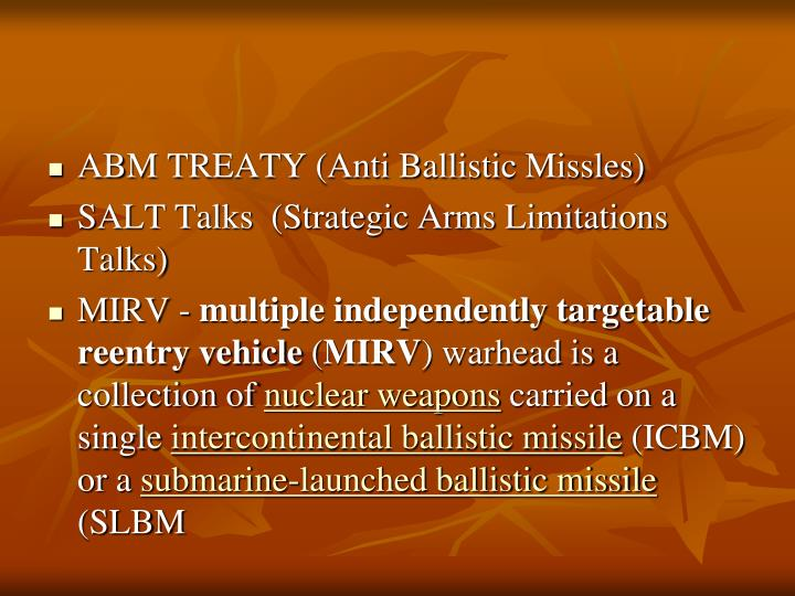 ABM TREATY (Anti Ballistic