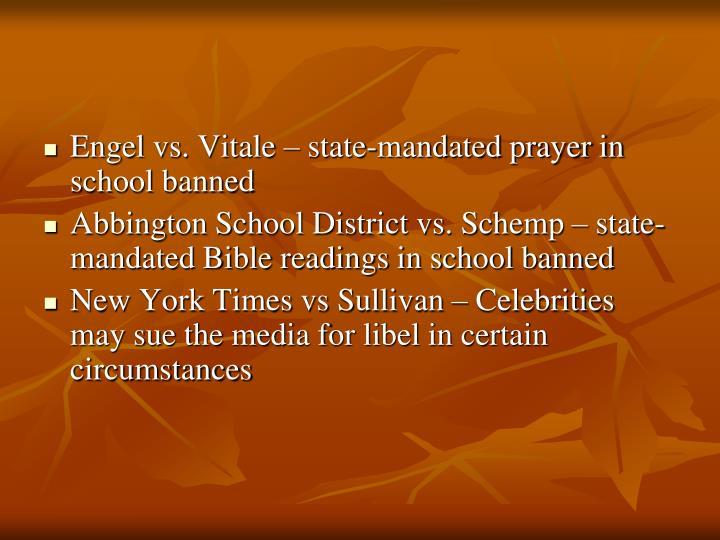 Engel vs. Vitale – state-mandated prayer in school banned