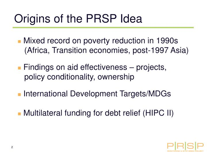 Origins of the PRSP Idea