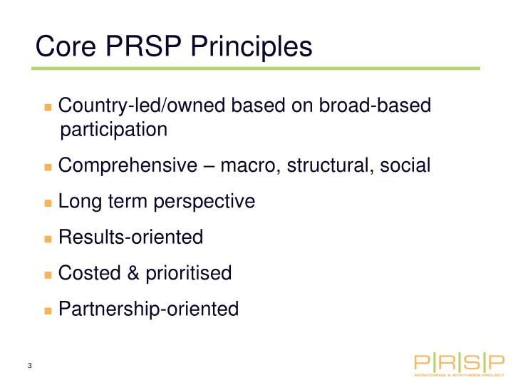 Core PRSP Principles