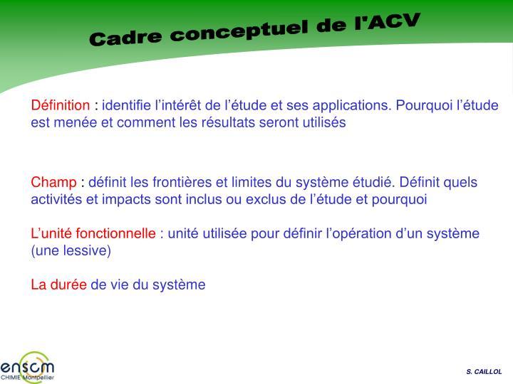 Cadre conceptuel de l'ACV