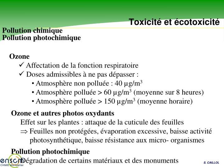 Toxicité et écotoxicité