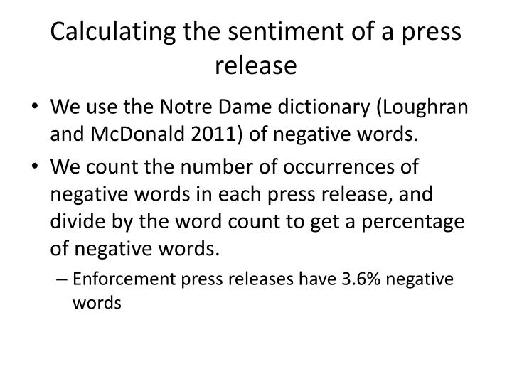 Calculating the sentiment of a press release