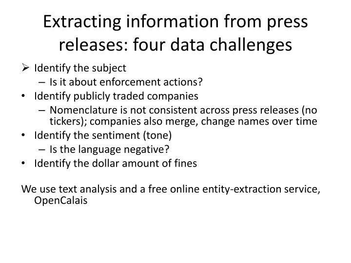Extracting information from press releases: four data challenges