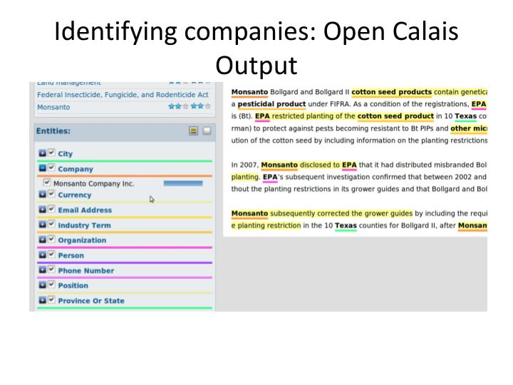 Identifying companies: Open Calais Output