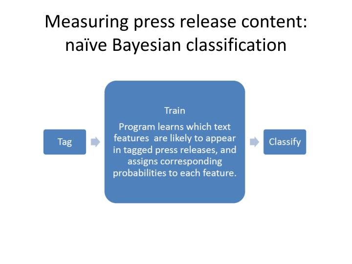 Measuring press release content: naïve Bayesian classification