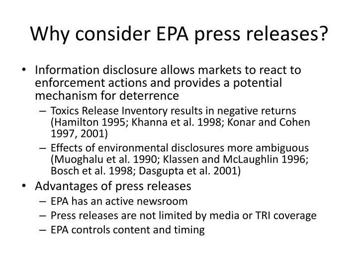 Why consider EPA press releases?