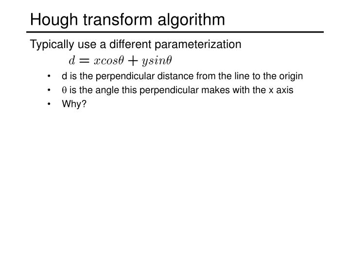 Hough transform algorithm