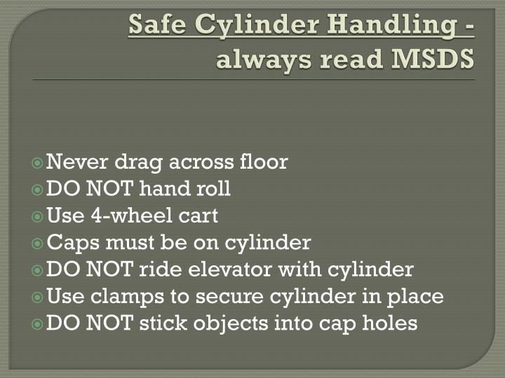 Safe Cylinder Handling -