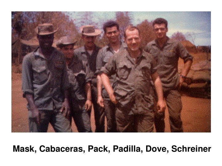 Mask, Cabaceras, Pack, Padilla, Dove, Schreiner