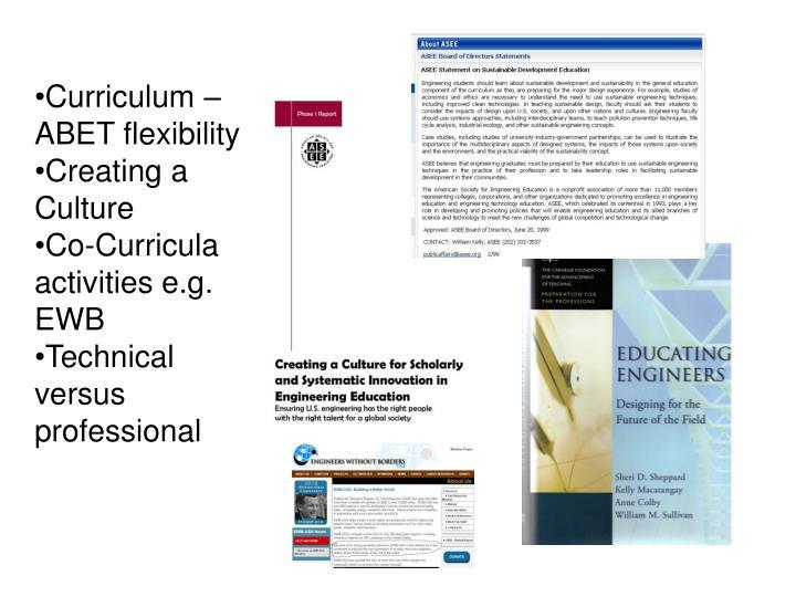 Curriculum – ABET flexibility