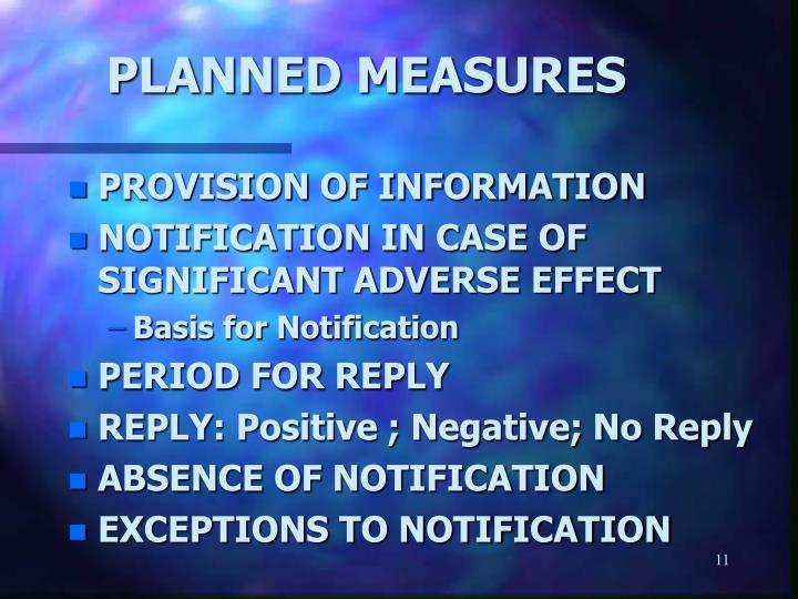 PLANNED MEASURES