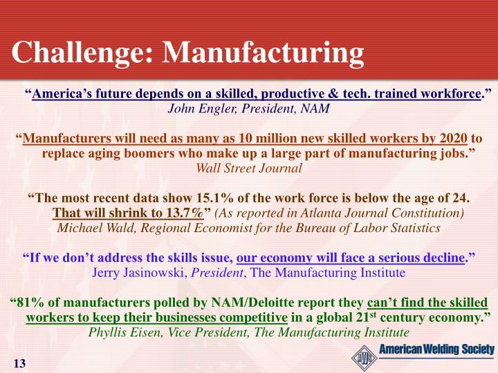 Challenge: Manufacturing