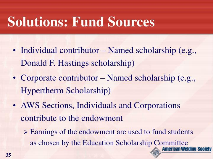 Solutions: Fund Sources
