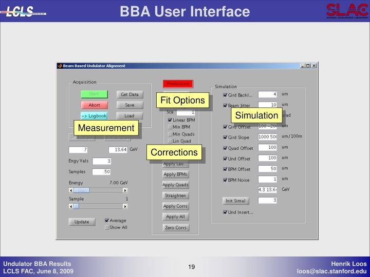 BBA User Interface