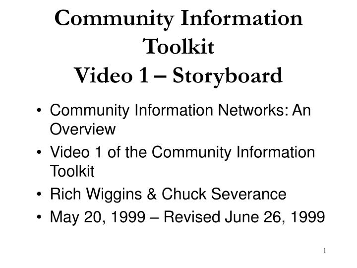 Community information toolkit video 1 storyboard