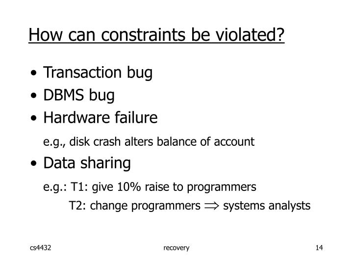 How can constraints be violated?