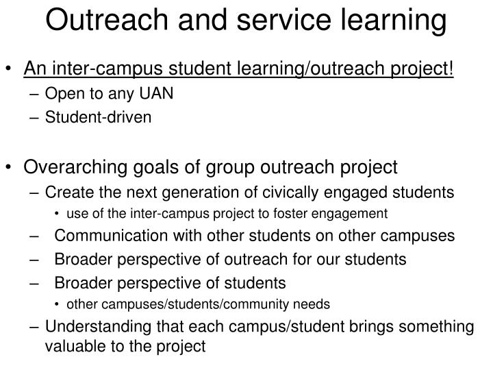 Outreach and service learning