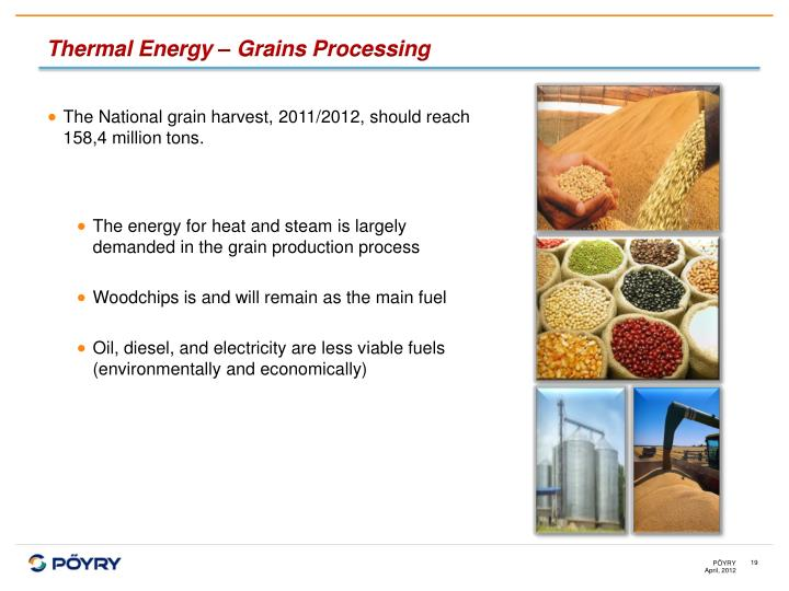 Thermal Energy – Grains Processing