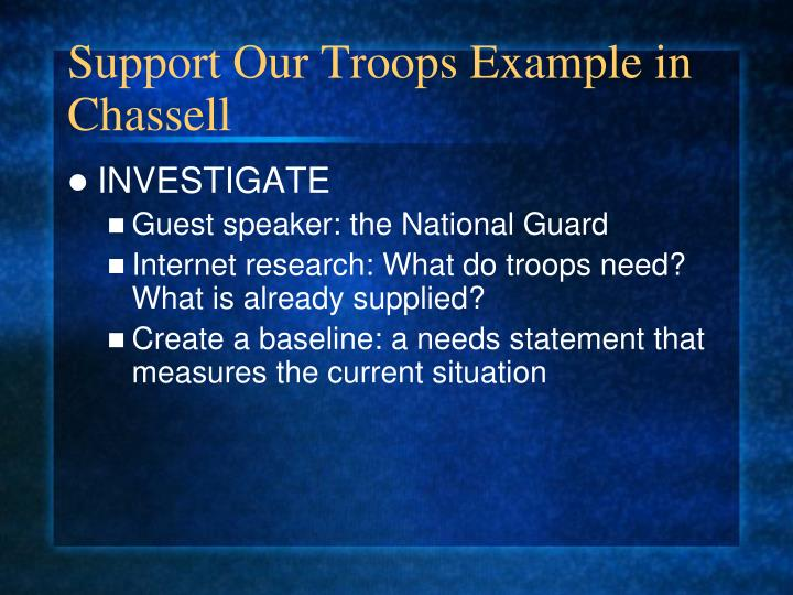 Support Our Troops Example in Chassell
