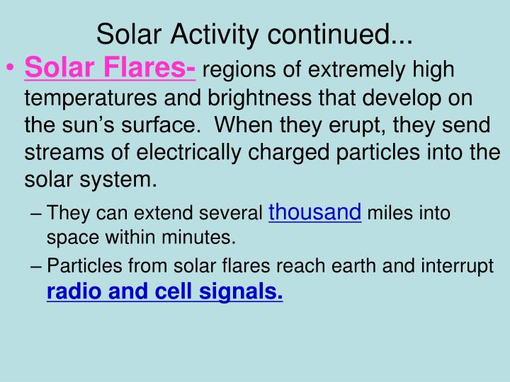 Solar Activity continued...