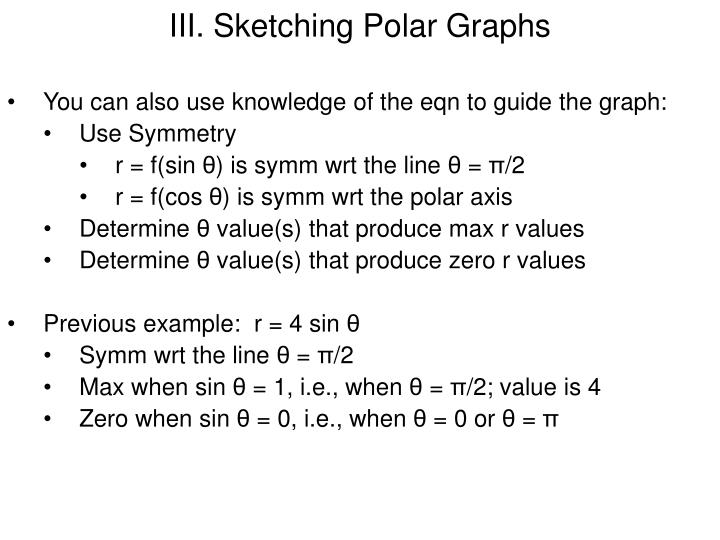 III. Sketching Polar Graphs