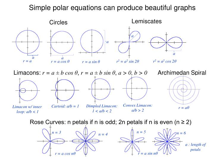 Simple polar equations can produce beautiful graphs