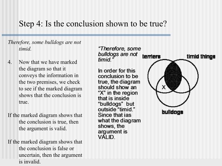 Step 4: Is the conclusion shown to be true?