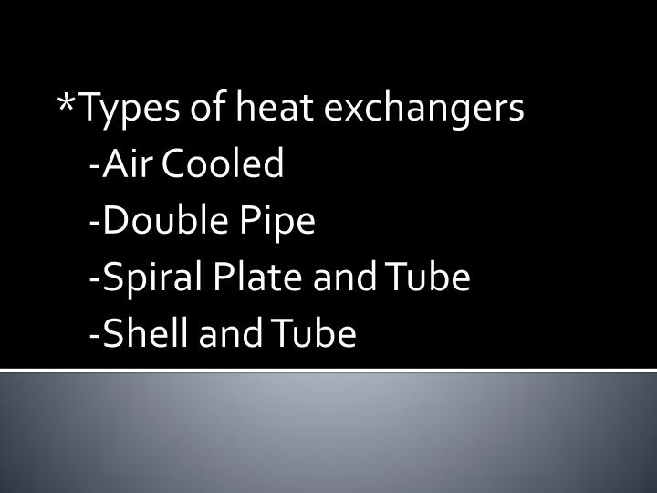 *Types of heat exchangers