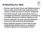 analysing our data