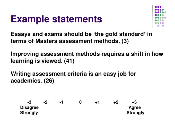 Example statements