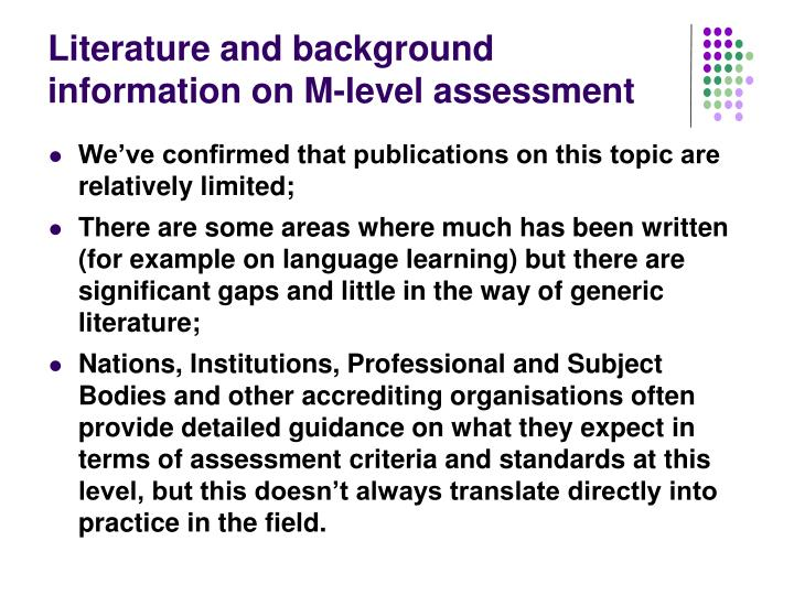 Literature and background information on M-level assessment